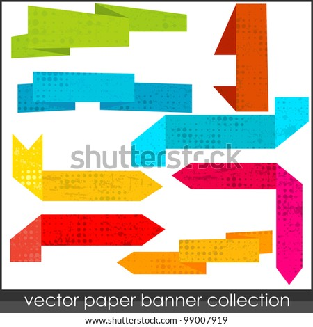 Abstract origami vector colorful paper banner - stock vector