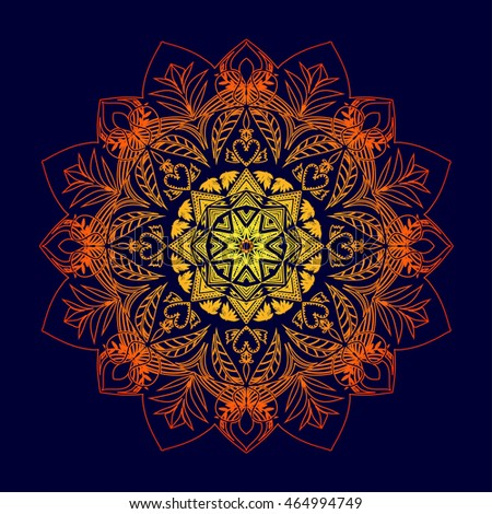 Abstract ornament in circle on dark background. Ornate mandala with floral motifs. Element for design. Vector illustration.