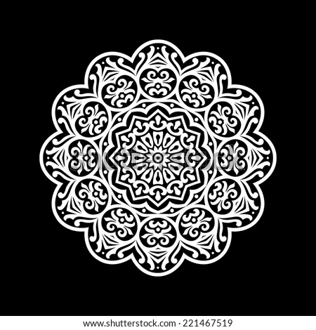 Abstract ornament, stencil pattern, cut out design, decor element, vector illustration - stock vector
