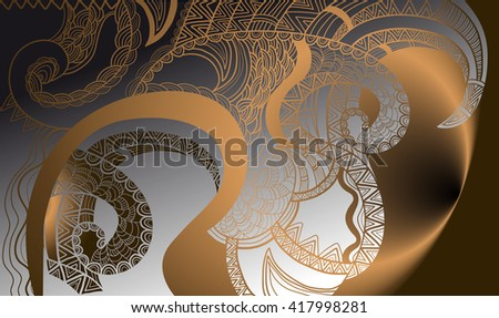 Abstract ornamental background with natural shapes. Template for design and decoration