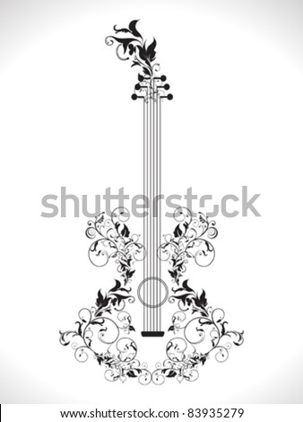 abstract ornamental floral based guitar vector illustration - stock vector
