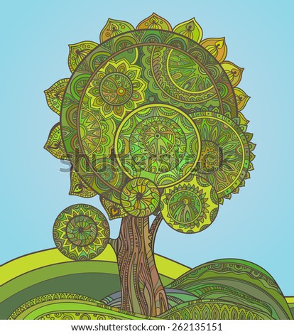 Abstract ornamental graphic magic tree with a lot of details and colors - stock vector