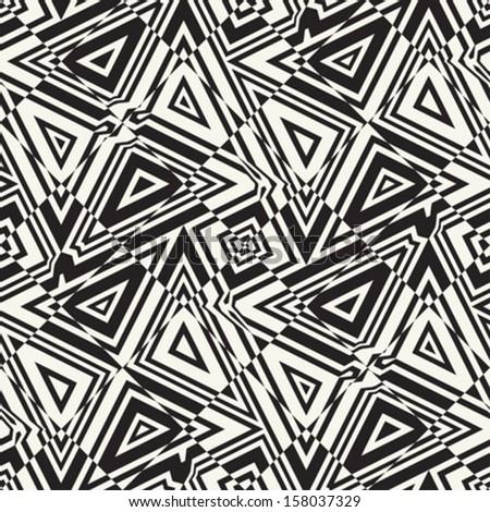 Abstract ornate broken geometric seamless pattern. Vector. - stock vector