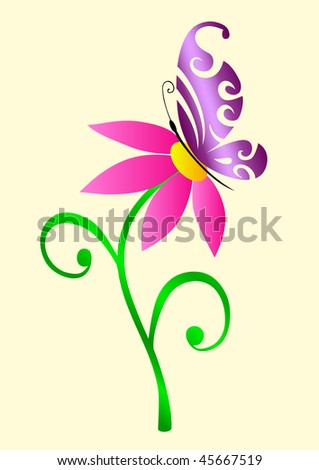 Abstract ornate butterfly on flower, vector illustration - stock vector