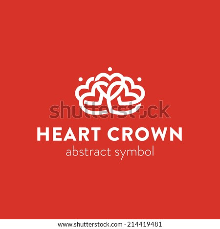 Abstract ornate crown simple graphic symbol consisting of heart shapes, ornamental logo template - stock vector