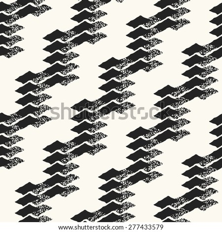 Abstract ornate dashed elements block textured background. Seamless pattern.