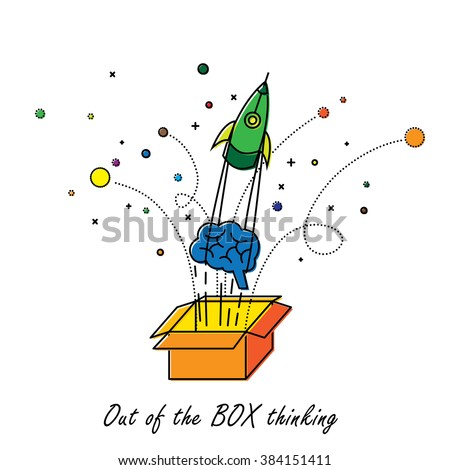 abstract out of box thinking - vector graphic - stock vector
