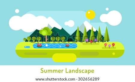 Abstract outdoor summer landscape. Trees and nature signs or outdoor, mountains, river or lake, sun, clouds, flowers, cave. Nature outdoor design elements. Tree silhouette. Green summer colors. - stock vector