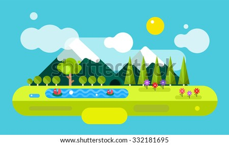 Abstract outdoor summer landscape. Trees and nature signs or outdoor, mountains, river or lake, sun, clouds, flowers, cave. Nature outdoor design elements. Tree silhouette. Green summer colors - stock vector