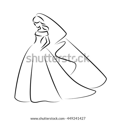 Abstract Outline Illustration Young Elegant Bride Stock Vector ...