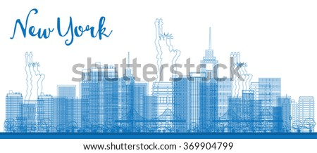 Abstract Outline New York city skyline with skyscrapers. Vector illustration. Business and tourism concept with place for text. Image for presentation, banner, placard and web site - stock vector