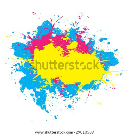 Abstract paint splatter elements in a cmyk color scheme. This vector element is fully editable. - stock vector
