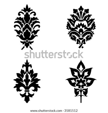 Abstract painted flowers vector illustration isolated on white
