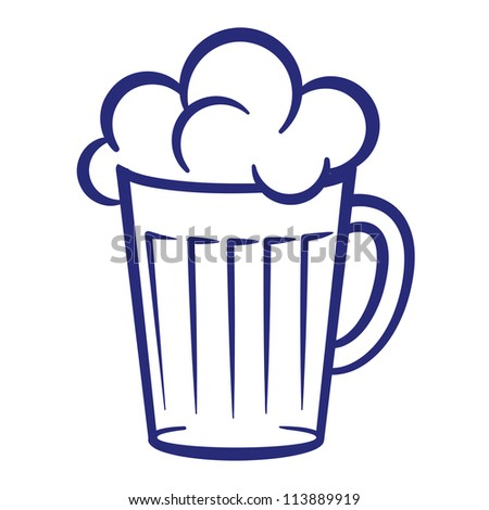 Abstract painted glass of beer. Illustration on white background - stock vector