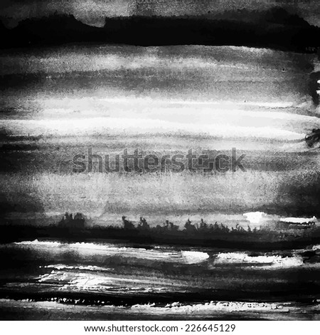 Abstract painted hand drawn grunge artistic texture in black and white. - stock vector