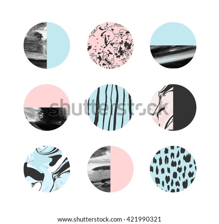 Abstract painting circles with different Handmade textures. Vector - stock vector