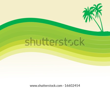 abstract palm tree and waves wallpaper - stock vector