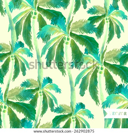 Abstract palm vector seamless pattern. - stock vector