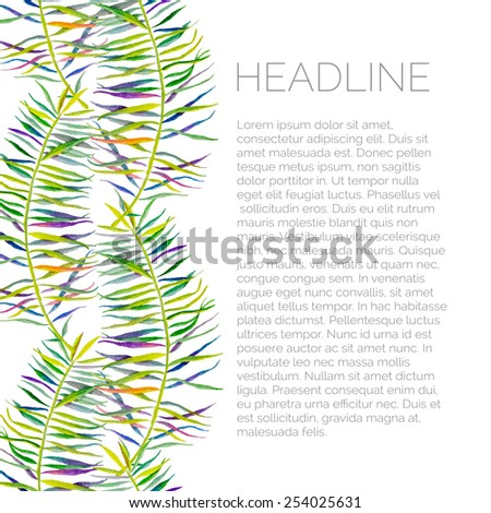 Abstract palm watercolor template for flyer. Palm background. Can be used for identity style, web pages, letterhead, printing, textile, cards, wedding, invitations, etc. - stock vector