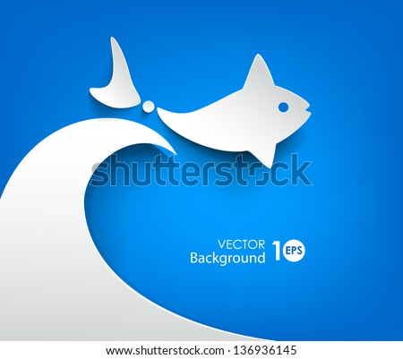 Abstract paper background. Fish floating on the waves. Vector eps10 illustration. - stock vector