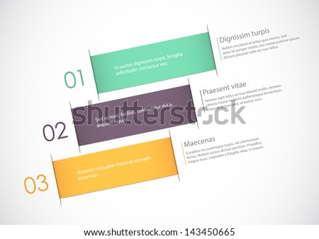 Abstract paper background with three numbered positions for your text. EPS10 vector, - stock vector