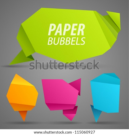 Abstract paper bubbles for speech. Vector illustration.