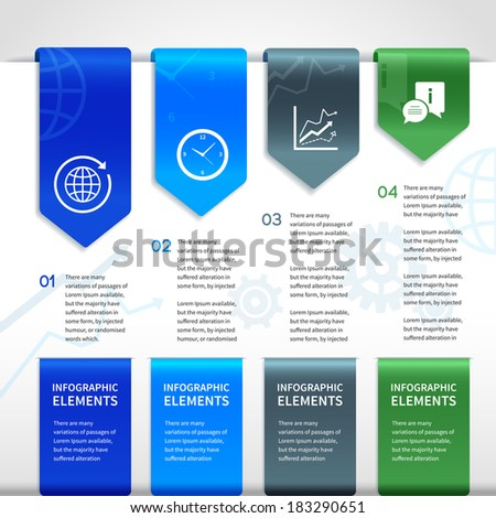 Abstract paper business infographics layout design elements for ribbons bookmarks and selections with icons vector illustration