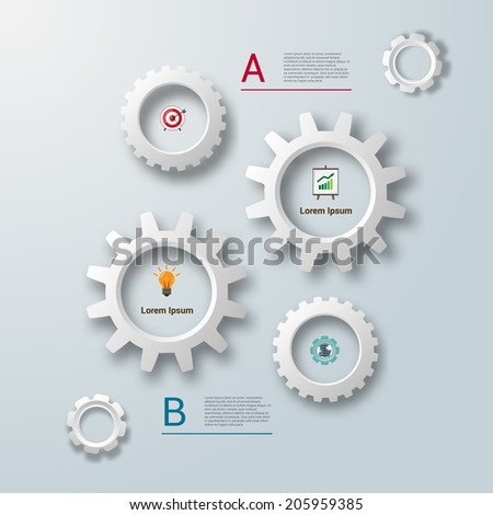 Abstract paper chart  business infographics elements template vector illustration - stock vector