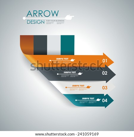 Abstract paper cut arrow background. Can be used for infographics, workflow layout, diagram, number options, business step options, web design.  - stock vector