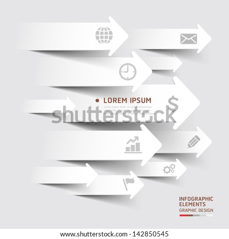 Abstract paper cut arrow background. Vector illustration. can be used for workflow layout, diagram, number options, business step options, banner, web design, infographics - stock vector