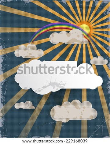 Abstract paper cut.Blue sky background and blank cloud design element with place for your text.Grunge paper textured background.Vector file.