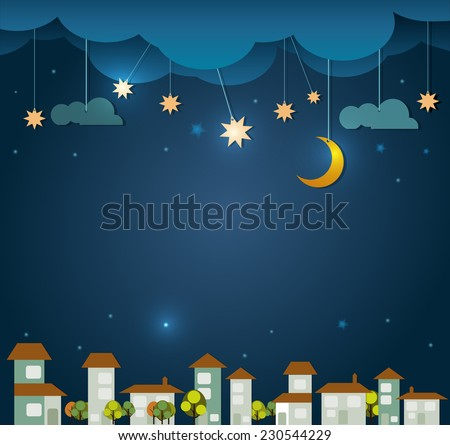 Abstract paper cut.Moon with stars,home,tree and cloud sky at night background.Blank space for your design  - stock vector