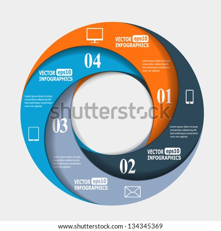Abstract paper infografics in a circle shape. Vector eps10 illustration - stock vector