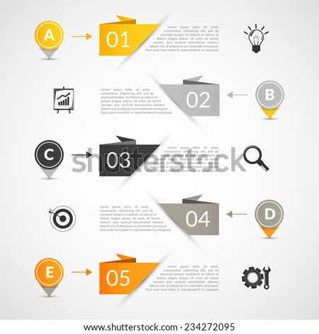 Abstract paper infographics layout template with bookmarks and business elements vector illustration. - stock vector