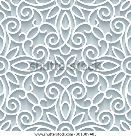 Abstract paper lace texture, elegant lacy ornament, vector seamless pattern - stock vector
