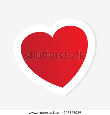 Abstract Paper Red Heart isolated on a white background. Valentine`s day concept - stock vector