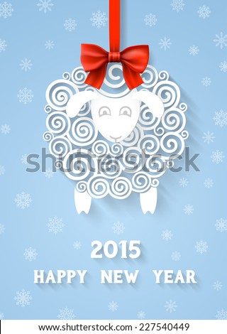 Abstract paper sheep, 2015 new year symbol on red ribbon with bow, with extensional shadows and 3d effects, EPS 10 contains transparency. - stock vector