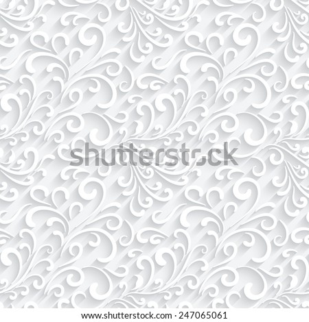 Abstract paper swirls on white, vector seamless pattern