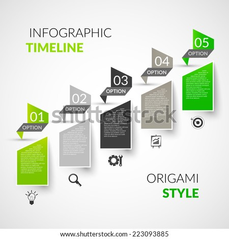 Abstract paper timeline infographics design template with origami style options and business icons vector illustration - stock vector
