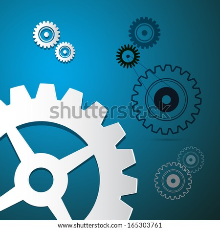 Abstract Paper Vector Cogs, Gears on Blue Background - stock vector