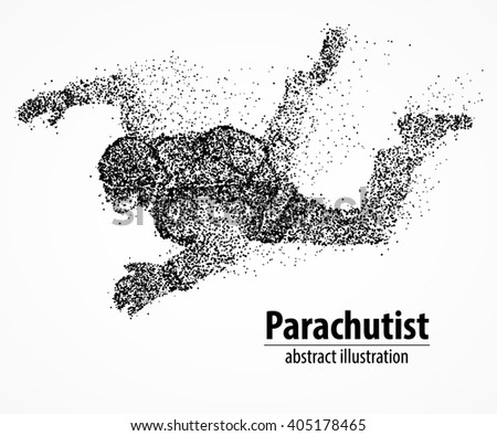Abstract parachutist from black circles. Vector illustration. - stock vector