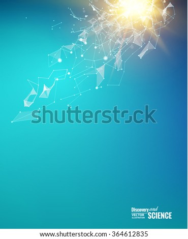 Abstract particles over blue background with shining sparks. Light background of atom for science design. Vector illustration. - stock vector