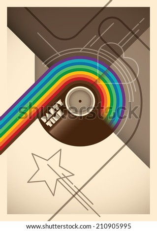 Abstract party poster with rainbow. Vector illustration. - stock vector