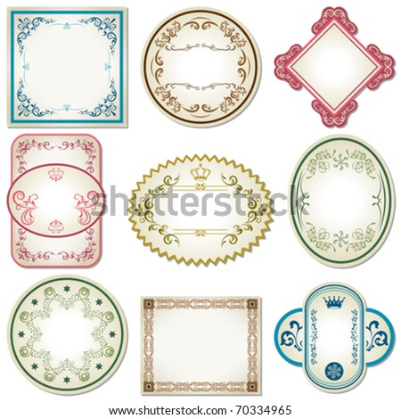 Abstract pastel labels set. Illustration vector. - stock vector