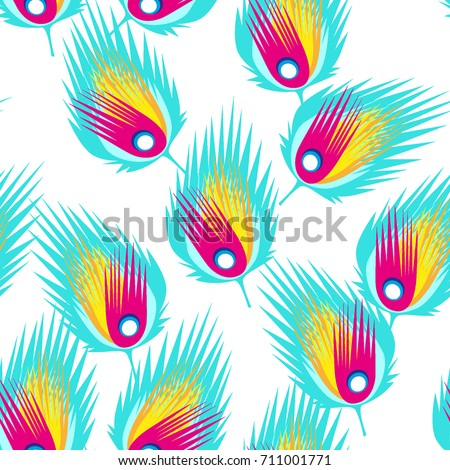 Abstract Pattern Animal Print Repeating Tile Feathers Birds Trendy Colour Blue Red Vector Feather Geometric