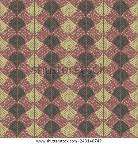 Abstract pattern based on a Traditional African Ornament. Warm brown colors. Seamless vector pattern. Stylized papyrus leaves.Simple pattern for wallpaper, web page background, surface textures. - stock vector