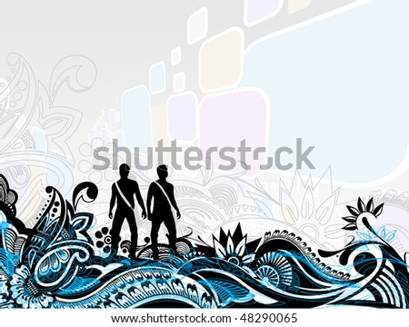 abstract pattern decorative illustrations with people on a floral background, vector illustration - stock vector