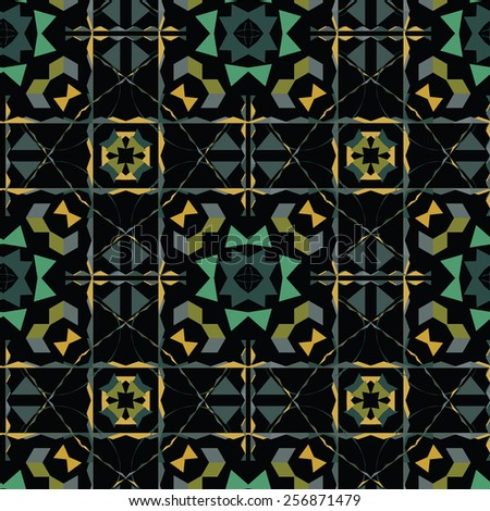 Abstract pattern in bright colors on a black background. - stock vector