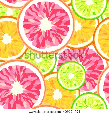 Abstract pattern  of citrus (orange, grapefruit, lime  lemon), seamless pattern, fashion design , trendy stylish texture spring summer, color vector prints