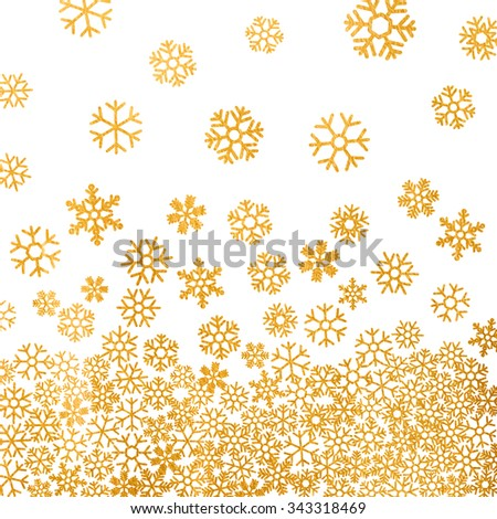 Abstract pattern of falling golden snowflakes on white background. Elegant pattern for Christmas or New year background, festive banner, card, invitation, postcard. Vector illustration. - stock vector